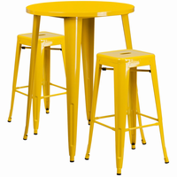 Flash Furniture 30'' Round Yellow Metal Indoor-Outdoor Bar Table Set with 2 Square Seat Backless Barstools