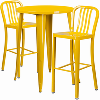 Flash Furniture 30'' Round Yellow Metal Indoor-Outdoor Bar Table Set with 2 Vertical Slat Back Barstools