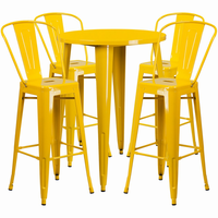 Flash Furniture 30'' Round Yellow Metal Indoor-Outdoor Bar Table Set with 4 Cafe Barstools