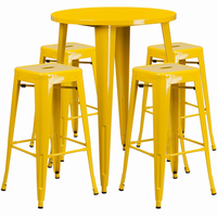 Flash Furniture 30'' Round Yellow Metal Indoor-Outdoor Bar Table Set with 4 Square Seat Backless Barstools