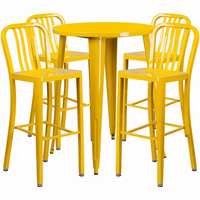 Flash Furniture 30'' Round Yellow Metal Indoor-Outdoor Bar Table Set with 4 Vertical Slat Back Barstools