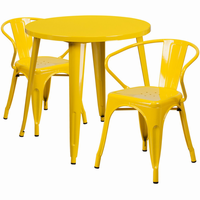 Flash Furniture 30'' Round Yellow Metal Indoor-Outdoor Table Set with 2 Arm Chairs
