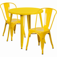 Flash Furniture 30'' Round Yellow Metal Indoor-Outdoor Table Set with 2 Cafe Chairs