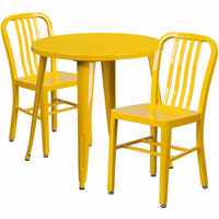 Flash Furniture 30'' Round Yellow Metal Indoor-Outdoor Table Set with 2 Vertical Slat Back Chairs