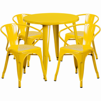 Flash Furniture 30'' Round Yellow Metal Indoor-Outdoor Table Set with 4 Arm Chairs