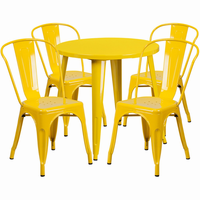 Flash Furniture 30'' Round Yellow Metal Indoor-Outdoor Table Set with 4 Cafe Chairs