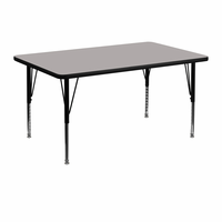 Flash Furniture 30''W x 48''L Rectangular Activity Table with 1.25'' Thick High Pressure Grey Laminate Top and Height Adjustable Preschool Legs