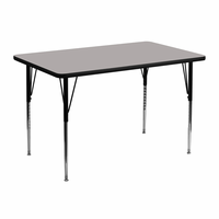 Flash Furniture 30''W x 48''L Rectangular Activity Table with 1.25'' Thick High Pressure Grey Laminate Top and Standard Height Adjustable Legs