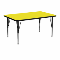 Flash Furniture 30''W x 48''L Rectangular Activity Table with 1.25'' Thick High Pressure Yellow Laminate Top and Height Adjustable Preschool Legs