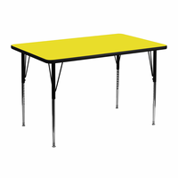 Flash Furniture 30''W x 48''L Rectangular Activity Table with 1.25'' Thick High Pressure Yellow Laminate Top and Standard Height Adjustable Legs