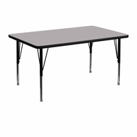 Flash Furniture 30''W x 48''L Rectangular Activity Table with Grey Thermal Fused Laminate Top and Height Adjustable Preschool Legs