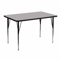 Flash Furniture 30''W x 48''L Rectangular Activity Table with Grey Thermal Fused Laminate Top and Standard Height Adjustable Legs