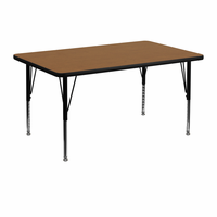 Flash Furniture 30''W x 48''L Rectangular Activity Table with Oak Thermal Fused Laminate Top and Height Adjustable Preschool Legs