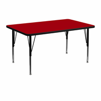 Flash Furniture 30''W x 48''L Rectangular Activity Table with Red Thermal Fused Laminate Top and Height Adjustable Preschool Legs