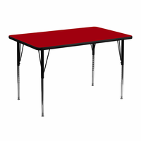 Flash Furniture 30''W x 48''L Rectangular Activity Table with Red Thermal Fused Laminate Top and Standard Height Adjustable Legs
