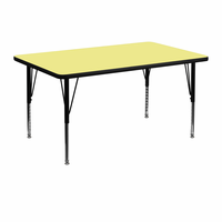Flash Furniture 30''W x 48''L Rectangular Activity Table with Yellow Thermal Fused Laminate Top and Height Adjustable Preschool Legs