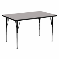 Flash Furniture 30''W x 60''L Rectangular Activity Table with 1.25'' Thick High Pressure Grey Laminate Top and Standard Height Adjustable Legs