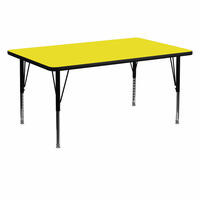 Flash Furniture 30''W x 60''L Rectangular Activity Table with 1.25'' Thick High Pressure Yellow Laminate Top and Height Adjustable Preschool Legs