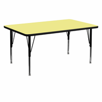 Flash Furniture 30''W x 60''L Rectangular Activity Table with Yellow Thermal Fused Laminate Top and Height Adjustable Preschool Legs