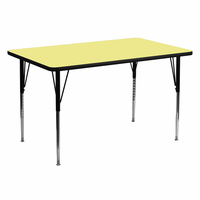 Flash Furniture 30''W x 60''L Rectangular Activity Table with Yellow Thermal Fused Laminate Top and Standard Height Adjustable Legs