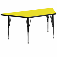 Flash Furniture 30''W x 60''L Trapezoid Activity Table with 1.25'' Thick High Pressure Yellow Laminate Top and Height Adjustable Preschool Legs