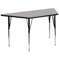 Flash Furniture 30''W x 60''L Trapezoid Activity Table with Grey Thermal Fused Laminate Top and Standard Height Adjustable Legs