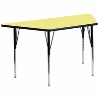 Flash Furniture 30''W x 60''L Trapezoid Activity Table with Yellow Thermal Fused Laminate Top and Standard Height Adjustable Legs