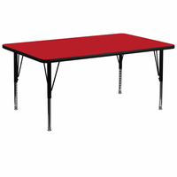 Flash Furniture 30''W x 72''L Rectangular Activity Table with 1.25'' Thick High Pressure Red Laminate Top and Height Adjustable Preschool Legs