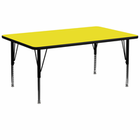 Flash Furniture 30''W x 72''L Rectangular Activity Table with 1.25'' Thick High Pressure Yellow Laminate Top and Height Adjustable Preschool Legs