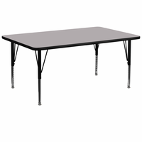 Flash Furniture 30''W x 72''L Rectangular Activity Table with Grey Thermal Fused Laminate Top and Height Adjustable Preschool Legs