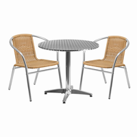 Flash Furniture 31.5'' Round Aluminum Indoor-Outdoor Table with 2 Beige Rattan Chairs