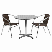 Flash Furniture 31.5'' Round Aluminum Indoor-Outdoor Table with 2 Dark Brown Rattan Chairs
