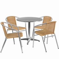 Flash Furniture 31.5'' Round Aluminum Indoor-Outdoor Table with 4 Beige Rattan Chairs