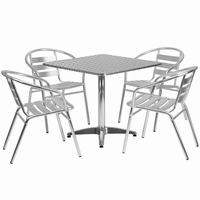 Flash Furniture 31.5'' Square Aluminum Indoor-Outdoor Table with 4 Slat Back Chairs