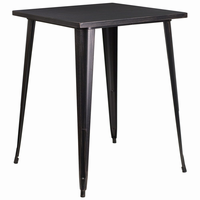 Flash Furniture 31.5'' Square Bar Height Black-Antique Gold Metal Indoor-Outdoor Table