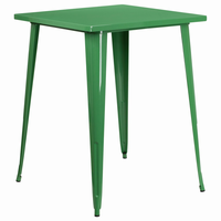 Flash Furniture 31.5'' Square Bar Height Green Metal Indoor-Outdoor Table