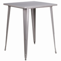 Flash Furniture 31.5'' Square Bar Height Silver Metal Indoor-Outdoor Table