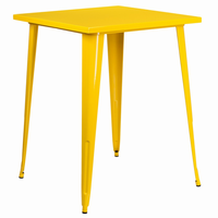 Flash Furniture 31.5'' Square Bar Height Yellow Metal Indoor-Outdoor Table