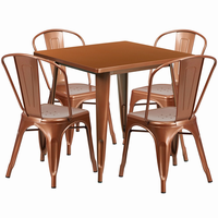 Flash Furniture 31.5'' Square Copper Metal Indoor-Outdoor Table Set with 4 Stack Chairs