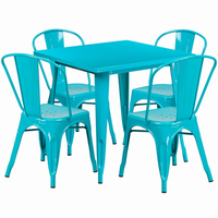 Flash Furniture 31.5'' Square Crystal Teal-Blue Metal Indoor-Outdoor Table Set with 4 Stack Chairs