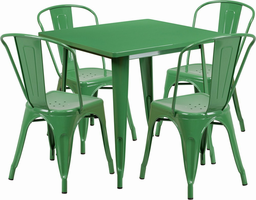 Flash Furniture 31.5'' Square Green Metal Indoor-Outdoor Table Set with 4 Stack Chairs