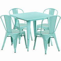 Flash Furniture 31.5'' Square Mint Green Metal Indoor-Outdoor Table Set with 4 Stack Chairs