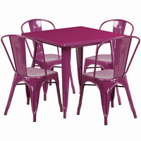 Flash Furniture 31.5'' Square Purple Metal Indoor-Outdoor Table Set with 4 Stack Chairs
