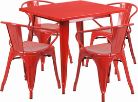 Flash Furniture 31.5'' Square Red Metal Indoor-Outdoor Table Set with 4 Arm Chairs
