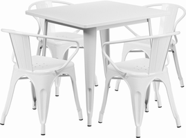 Flash Furniture 31.5'' Square White Metal Indoor-Outdoor Table Set with 4 Arm Chairs