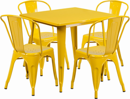Flash Furniture 31.5'' Square Yellow Metal Indoor-Outdoor Table Set with 4 Stack Chairs