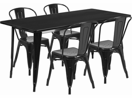 Flash Furniture 31.5'' x 63'' Rectangular Black Metal Indoor-Outdoor Table Set with 4 Stack Chairs