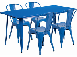 Flash Furniture 31.5'' x 63'' Rectangular Blue Metal Indoor-Outdoor Table Set with 4 Stack Chairs
