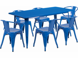 Flash Furniture 31.5'' x 63'' Rectangular Blue Metal Indoor-Outdoor Table Set with 6 Arm Chairs