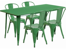 Flash Furniture 31.5'' x 63'' Rectangular Green Metal Indoor-Outdoor Table Set with 4 Stack Chairs